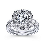 Antoinette 14k White Gold Round Double Halo Engagement Ring