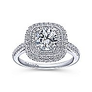 Antoinette 14k White Gold Round Double Halo Engagement Ring angle 5