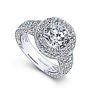 Antonia 18k White Gold Round Halo Engagement Ring angle 3