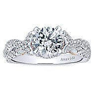 Aqua 18k White And Rose Gold Round Twisted Engagement Ring