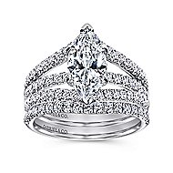 Aquila 14k White Gold Marquise  Split Shank Engagement Ring
