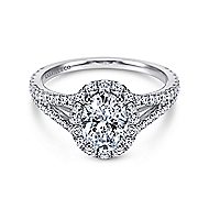 Ariane 18k White Gold Oval Halo Engagement Ring angle 1
