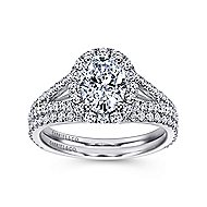 Ariane 18k White Gold Oval Halo Engagement Ring angle 4