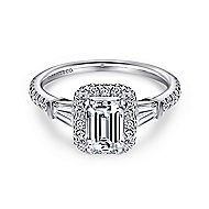 Ashton 14k White Gold Emerald Cut Halo Engagement Ring angle 1
