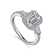 Ashton 14k White Gold Emerald Cut Halo Engagement Ring angle 3