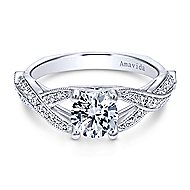 Asia 18k White Gold Round Twisted Engagement Ring angle 1