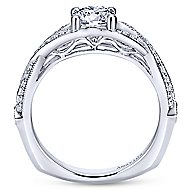 Asia 18k White Gold Round Twisted Engagement Ring angle 2