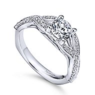 Asia 18k White Gold Round Twisted Engagement Ring angle 3