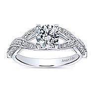 Asia 18k White Gold Round Twisted Engagement Ring angle 5
