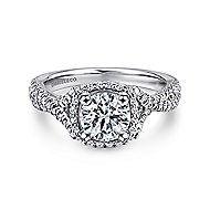 Aster 14k White Gold Round Halo Engagement Ring angle 1