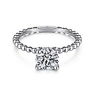 Athena 14k White Gold Round Solitaire Engagement Ring angle 1
