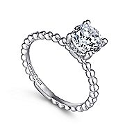 Athena 14k White Gold Round Solitaire Engagement Ring angle 3