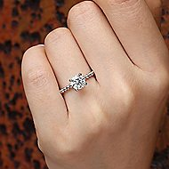 Athena 14k White Gold Round Solitaire Engagement Ring angle 6