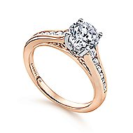 Aubrey 14k White And Rose Gold Round Straight Engagement Ring angle 3