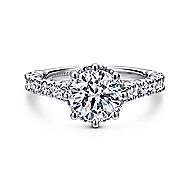 Augusta 14k White Gold Round Straight Engagement Ring angle 1