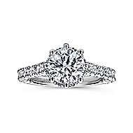 Augusta 14k White Gold Round Straight Engagement Ring angle 5