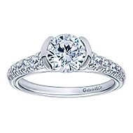 Aura 14k White Gold Round Straight Engagement Ring angle 5