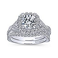 Avalon 14k White Gold Round Halo Engagement Ring angle 4