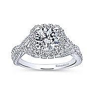 Avalon 14k White Gold Round Halo Engagement Ring angle 5