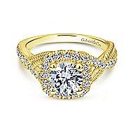 Avalon 14k Yellow Gold Round Halo Engagement Ring angle 1