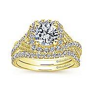Avalon 14k Yellow Gold Round Halo Engagement Ring angle 4