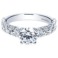 Aveline 14k White Gold Round Straight Engagement Ring