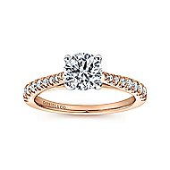Avery 14k White And Rose Gold Round Straight Engagement Ring angle 5