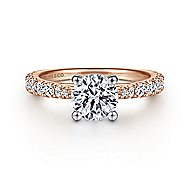 Avery 14k White And Rose Gold Round Straight Engagement Ring angle 1