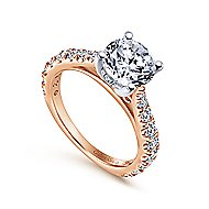 Avery 14k White And Rose Gold Round Straight Engagement Ring angle 3