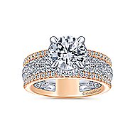 Avis 18k White And Rose Gold Round Straight Engagement Ring angle 5