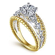 Ayala 14k Yellow And White Gold Round Split Shank Engagement Ring