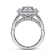Aztec 14k White Gold Round Double Halo Engagement Ring