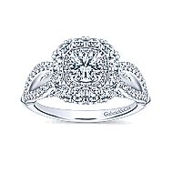 Aztec 14k White Gold Round Double Halo Engagement Ring angle 5