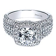 Babette 18k White Gold Round Halo Engagement Ring angle 1