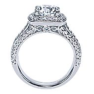 Babette 18k White Gold Round Halo Engagement Ring angle 2