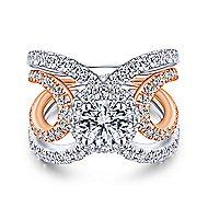Bahamas 18k White And Rose Gold Round Halo Engagement Ring