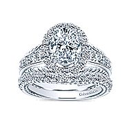 Ballantine 14k White Gold Oval Halo Engagement Ring