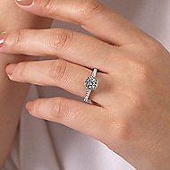 Barcelona 14k White Gold Round Straight Engagement Ring angle 6