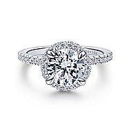 Bardot 18k White Gold Round Double Halo Engagement Ring angle 1