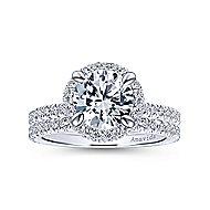 Bardot 18k White Gold Round Double Halo Engagement Ring angle 4