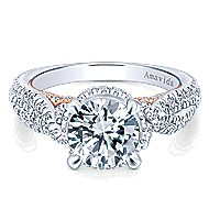 Bea 18k White And Rose Gold Round Halo Engagement Ring angle 1