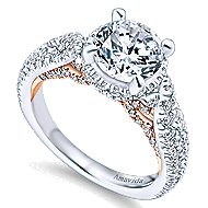 Bea 18k White And Rose Gold Round Halo Engagement Ring angle 3