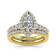Beckett 14k Yellow Gold Marquise  Halo Engagement Ring angle 4