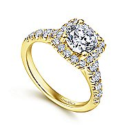 Beckett 14k Yellow Gold Round Halo Engagement Ring angle 3