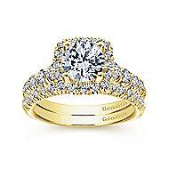 Beckett 14k Yellow Gold Round Halo Engagement Ring angle 4