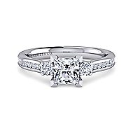 Becky 14k White Gold Princess Cut 3 Stones Engagement Ring angle 1