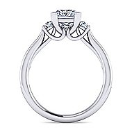 Becky 14k White Gold Princess Cut 3 Stones Engagement Ring angle 2