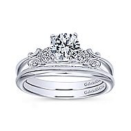 Belle 14k White Gold Round Straight Engagement Ring angle 4