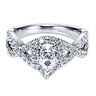 Berenice 14k White Gold Pear Shape Halo Engagement Ring angle 1