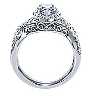 Berenice 14k White Gold Pear Shape Halo Engagement Ring angle 2